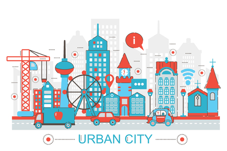 urban city: Modern Flat thin Line design Urban city concept for web banner website, presentation, flyer and poster Stock Photo