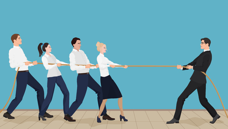 tug of war: Powerful strong businessman competing with group of businessmen office people team playing tug of war battle Illustration