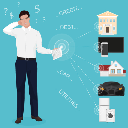 car bills: Man businessman feeling bad worried stress at home couch accounting bank bills dept papers expenses and car payments. Unpaid bills concept for web Illustration
