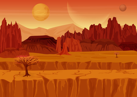 alien landscape: Fairy game Sci-fi red mars Alien Landscape. Nature on another planet with mountains, rocks and planets in the sky. UI Gaming landscape Illustration