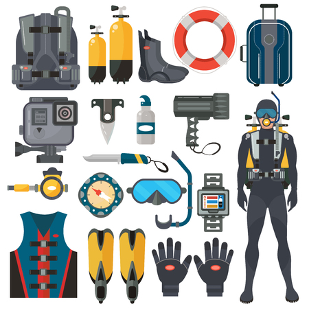 man underwater: Scuba diving equipment accessories collection. Diver man in underwater wetsuit. Underwater hunting and swimming sport