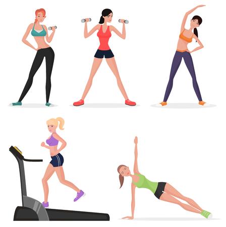 フィットネス女性ジムで女性を設定します。健康的なライフ スタイルの女の子には、ヨガの練習と体操が作る。カーディオワーク アウト