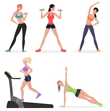Fitness women female in gym set. Healthy lifestyle girls make yoga exercises and gymnastics. Cardio workout