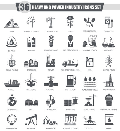Vector heavy and power industry black icon set. Dark grey classic icon design for web