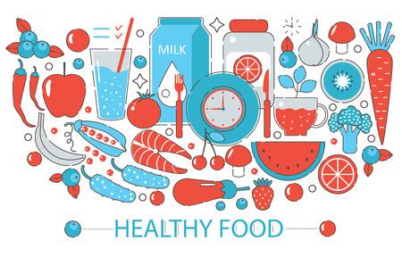 對於網絡旗幟的網站,簡報,傳單和海報現代扁薄的線條設計健康食品理念 版權商用圖片 - 61664947