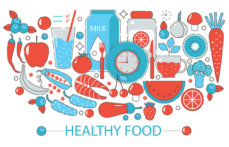 Modern Flat thin Line design Healthy food concept for web banner website, presentation, flyer and poster Stock Vector - 61664947