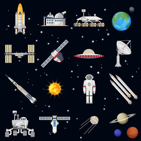 exploring: Vector exploring space technology flat icon set. Elegant style design Illustration
