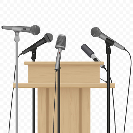 tribune: Press conference speaker podium tribune with microphones on the alpha background