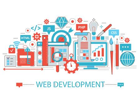 Modern Flat thin Line design Web development concept for web banner website, presentation, flyer and poster Illustration