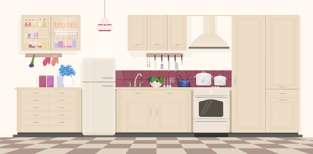 modern kitchen: Modern classic vintage kitchen interior with furniture and cooking devices. Cartoon realistic design of kitchen Illustration