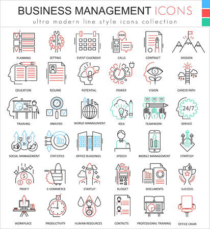 ultra modern: Vector Business management ultra modern color outline line icons for apps and web design