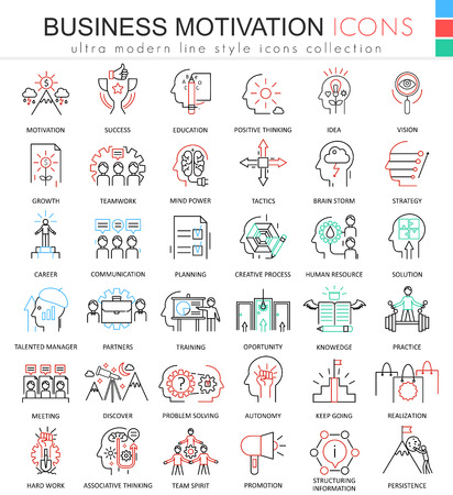 Vector Business motivation ultra modern color outline line icons for apps and web design Illustration