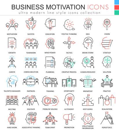 ultra modern: Vector Business motivation ultra modern color outline line icons for apps and web design Illustration