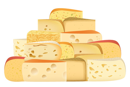 cheddar: Many pieces of Various types of Cheese together set. Parmesan mozarella swiss emmentaler cheddar gouda collection