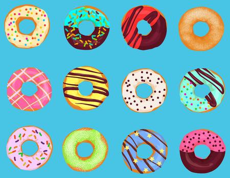 明るい青色の背景に分離された漫画ドーナツ ドーナツ ケーキのセットです。お菓子のドーナツ メニュー  イラスト・ベクター素材