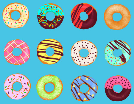 Set of cartoon doughnuts donut cake isolated on bright blue background. Pastry donuts menu Illustration
