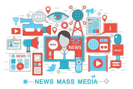 Piatto sottile disegno Linea concetto moderno notizie Mass media per il sito web banner web, presentazione, flyer e poster Vettoriali