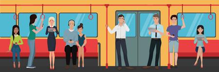 people using smartphone phones in subway train public transport  イラスト・ベクター素材