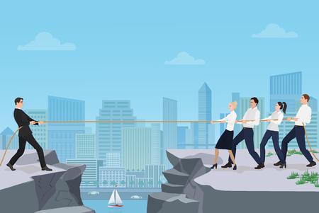 Potężny silny biznesmen konkurujący z grupą przedsiębiorców ludzie biura ludzie grają wciąganie wojny bitwa między skałami na tle miasta Ilustracje wektorowe