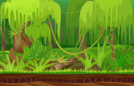 liana: Cartoon color nature tropical rain forest landscape in sun day with grass, trees with liana. Vector game style illustration. Background for games
