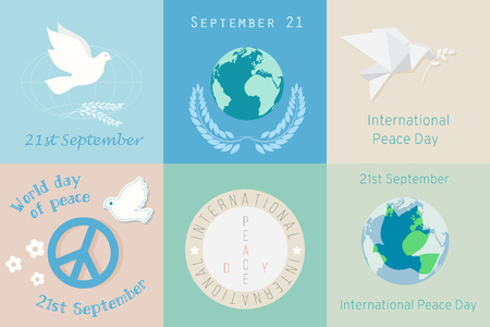 International Day of Peace design symbols. Different Poster template