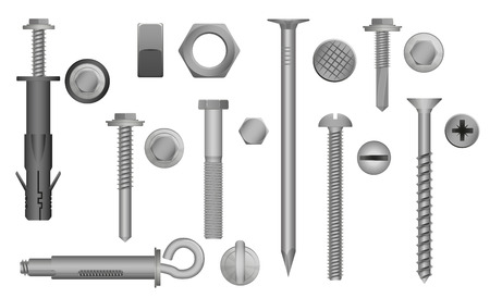 fasteners: Construction Hardware set Bolts, Screws, Nuts and Rivets. vector illustration of Metal fix gear elements