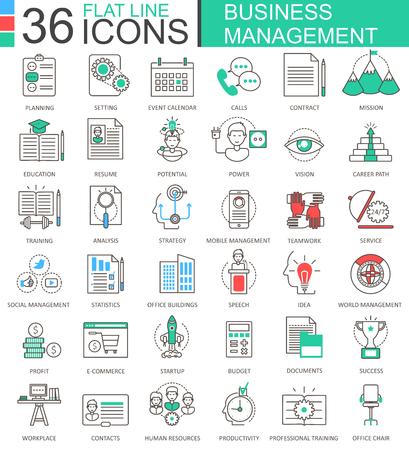 human resource: Vector Business management modern color flat line outline icons for apps and web design Illustration