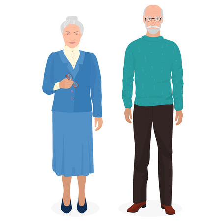 old man standing: Happy grandfather and grandmother standing together. Old man and woman people in family. Vector illustration