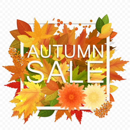 Autumn sale discount banner on the transperant alpha background. Modern style autumn Poster with golden orange foliage leaves Ilustração