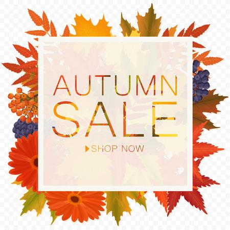 Autumn sale discount banner on the transperant alpha background. Poster with autumn golden orange foliage leaves Ilustração