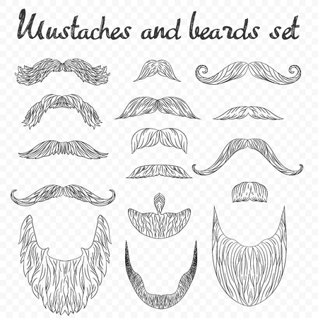 Man hair, mustache, beards collection isolated on transperant alpha backdrop. Hipster high detailed retro fashion elements. in outline line drawing style