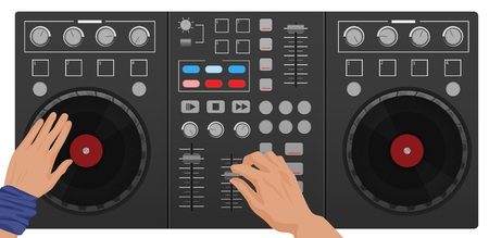 mixer console: DJ hands playing vinyl. Top view. DJ Interface workspace mixer console turntables. Night club concept