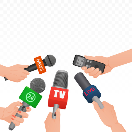 Interview news microphones and voice recorder in hands of reporters journalist press conference. Hot news banner template poster Ilustração