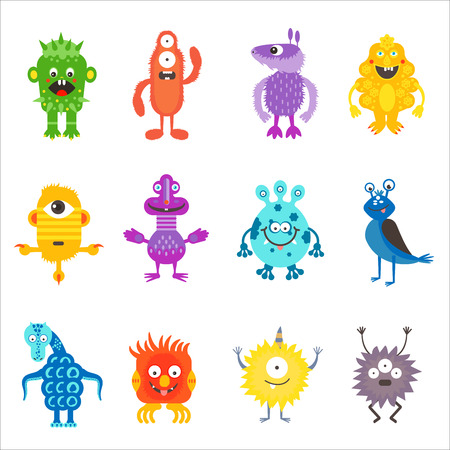 hilarious: Cartoon cute color monsters aliens set isolated. Illustration