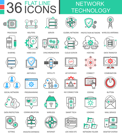 Network technology modern color flat line outline icons for apps and web design Illustration