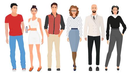 分離されたカジュアルなストリートファッション現代服の美しいかわいい女の子モデル カップルと男性はハンサムな若い男。おしゃれセット