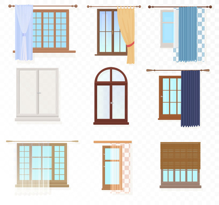 Set of high quality various Vintage Windows with curtains on the alpha transperant background