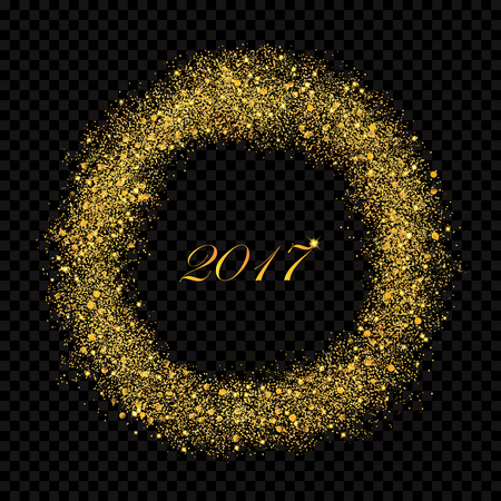 ny: 2017 New Year abstract gold glittering star dust rain circle on the alpha transperant background. Rich Golden Explosion Confetti effect. Luxury NY 2017 banner.