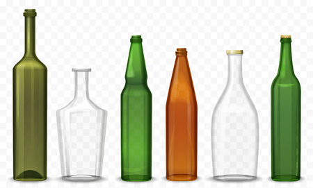 Realistic glass 3d blank bottle. Vector Bottles isolated on the alpha transperant background