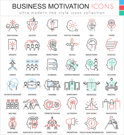 ultra modern: Vector Business motivation and discipline ultra modern color outline line icons for apps and web design