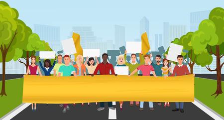 항의 데모에 큰 플래 카드와 메가폰을 가진 사람들. 도시 공원 배경에 사람들이 구성에 저항하는 군중 스톡 콘텐츠 - 65389238