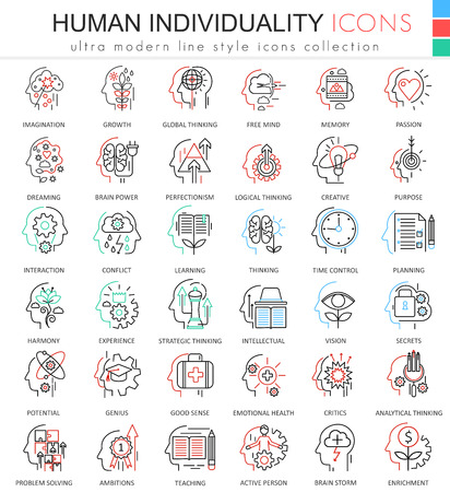 personality development: Vector Human personality and mentality ultra modern color outline line icons for apps and web design