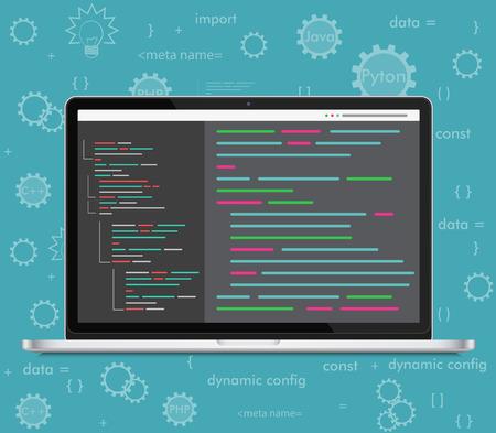 Vector laptop coding concept. Web developer, design, programming. Laptop screen code