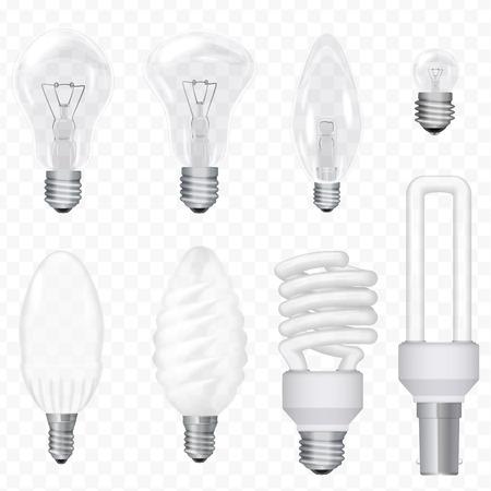 Vector realistic energy saving light bulbs lamps isolated on the transperant background. Lightbulb set