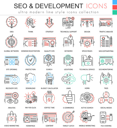 ultra modern: Vector SEO and development ultra modern color outline line icons for apps and web design