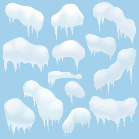snowdrifts: Snow elements, Snow caps, snowballs and snowdrifts for design and decoration. Christmas snow top