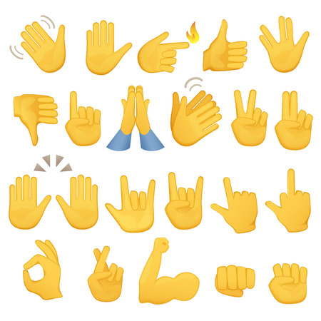 Set of hands icons and symbols. Emoji hand icons. Different gestures, hands, signals and signs, vector illustration