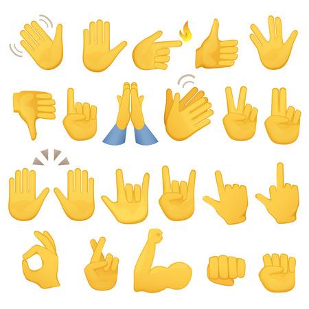Set di icone e simboli mani. Emoji icone mano. Diversi gesti, mani, segnali e segni, illustrazione vettoriale Vettoriali