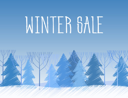snowy hill: Winter sale words on the beautiful Chrismas flat winter landscape with tree background. Paint sketch drawing