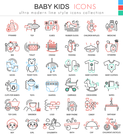 horse care: Baby kids ultra modern outline line icons for apps and web design. Baby kids sybols for app and web